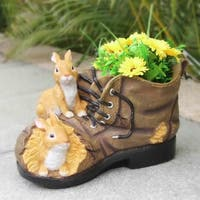 SINTECHNO SNF86003 Two Rabits Nested in Shoe Flower Pot Planter