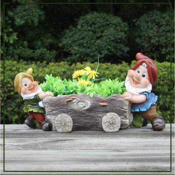 Shop Sintechno Snf91207 Cute Gnome Push Tree Log Flower Pot Planter