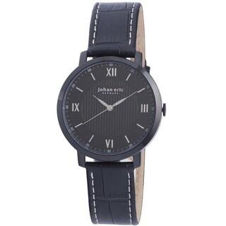 Joan Eric Men's Swiss Quartz Black Leather Strap Watch