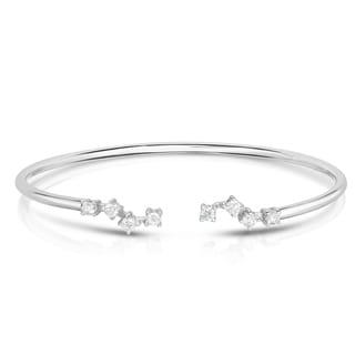 Noray Designs 14K White Gold Diamond (0.60 Ct, G-H Color, SI2-I1 Clarity) Zigzag Cuff Bangle