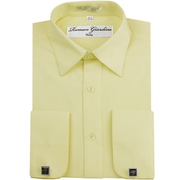 Roman Giardino Mens Dress Shirt Wrinkle-free Convertible Cuff w/Free Cufflinks Baby Yellow