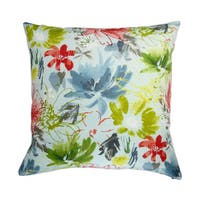 18-inch Indoor/Outdoor Island Hawaiian Beach Tropical Colorful Watercolor Flowers in Sky Blue - Pillow Cover Only (Set of 2)
