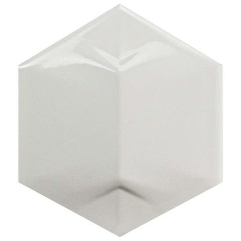 SomerTile 4.25x4.875-inch Magico 3D Star Glossy White Ceramic Wall Tile (50 tiles/6.5 sqft.)