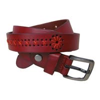 Amerileather Lady's Red Leather Stitch Design Belt