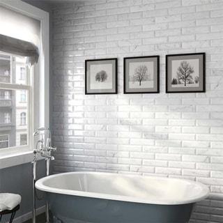 SomerTile 3x12-inch Carra Carrara Glossy Metro Ceramic Wall Tile (44 tiles/12.16 sqft.)