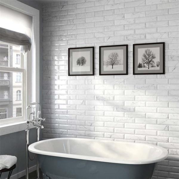 SomerTile 3x12 Inch Carra Carrara Glossy Metro Ceramic Wall Tile (44 Tiles /12.16