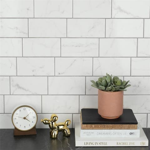 SomerTile 3x6-inch Carra Carrara Glossy Ceramic Wall Tile (44 tiles/6.03 sqft.)
