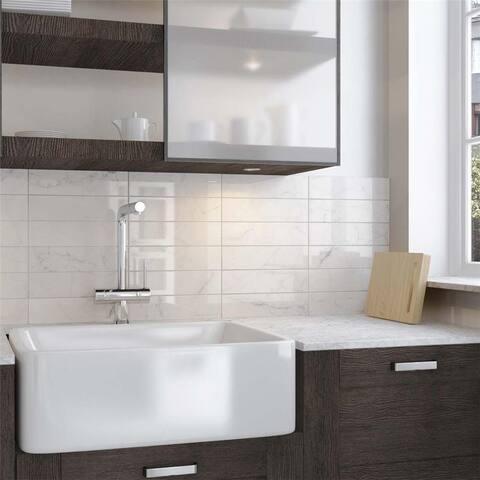 SomerTile 3x12-inch Carra Carrara Glossy Ceramic Wall Tile (44 tiles/12.16 sqft.)