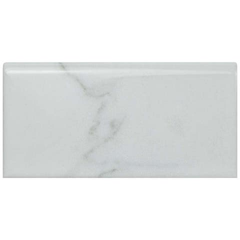 SomerTile 3x6-inch Carra Carrara Glossy Bullnose Ceramic Wall Trim Tile (4 tiles)
