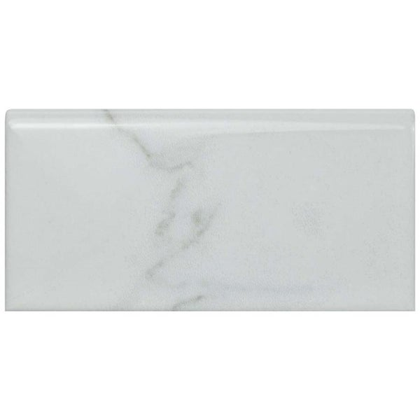 SomerTile 3x6-inch Carra Carrara Glossy Bullnose Ceramic Wall Trim Tile (4 tiles). Opens flyout.