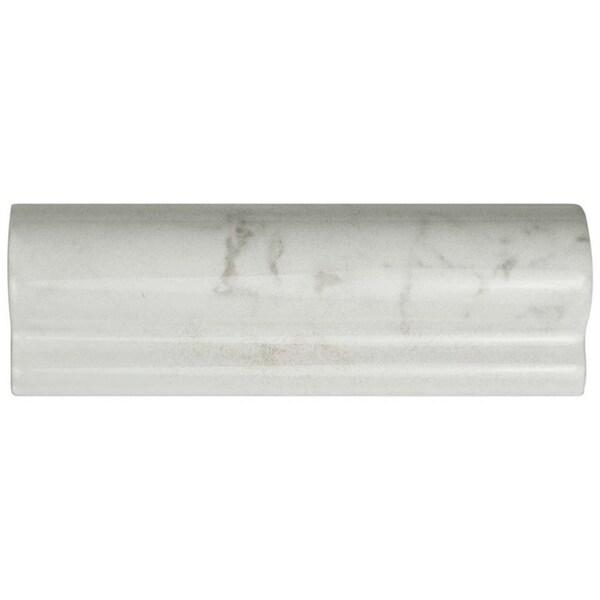 SomerTile 2x6 Inch Carra Carrara Glossy London Chair Rail Ceramic Wall Trim  Tile (4