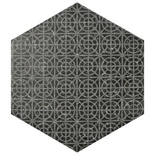 SomerTile 10x11.5-inch Moonstone Hexagon Melange Black Porcelain Floor and Wall Tile (9 tiles/5.92 sqft.)