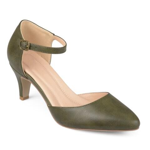 Journee Collection Women's 'Bettie' Comfort Sole Almond Toe Ankle Strap Heels