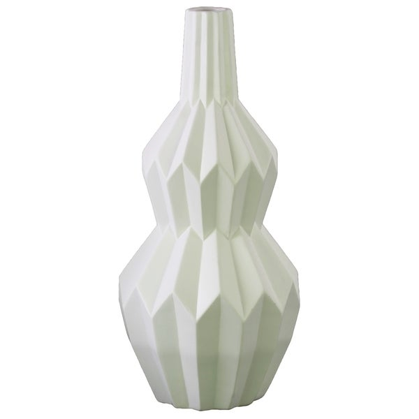 UTC21455: Ceramic Bellied Round Vase with Narrow Lips, Long Neck, Patterned Design Body and Tapered Bottom LG Matte Finish White