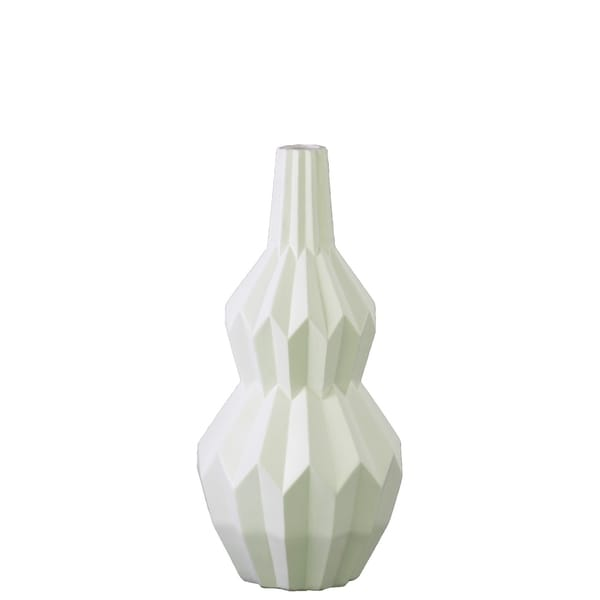 UTC21457: Ceramic Bellied Round Vase with Narrow Lips, Long Neck, Patterned Design Body and Tapered Bottom SM Matte Finish White
