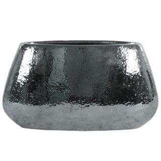 UTC25012: Ceramic Eliptical Vase LG Hammered Polished Chrome Finish Silver