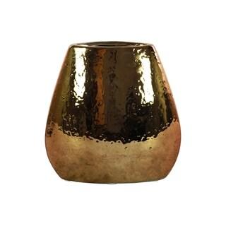 UTC25010: Stoneware Elliptical Bellied Vase Hammered Chrome Finish Antique Brass