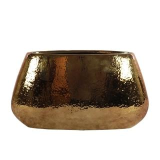 UTC25013: Ceramic Eliptical Vase SM Hammered Polished Chrome Finish Antique Brass
