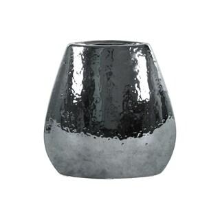 UTC25009: Stoneware Elliptical Bellied Vase Hammered Chrome Finish Silver