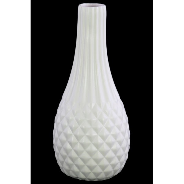 Shop Utc39761 Ceramic Round Vase Matte Finish White On Sale Free