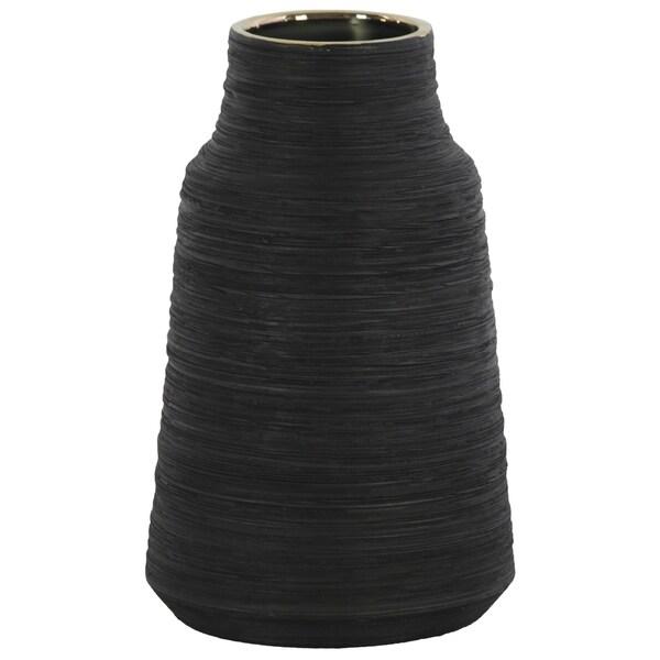 UTC45714 Ceramic Round LG Vase Coated Finish Black