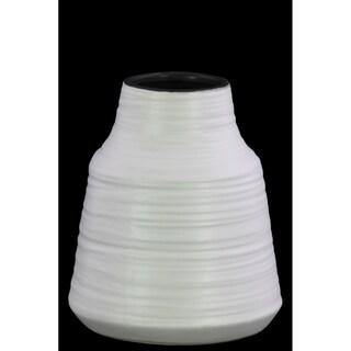 UTC45717 Ceramic Round SM Vase Coated Finish White