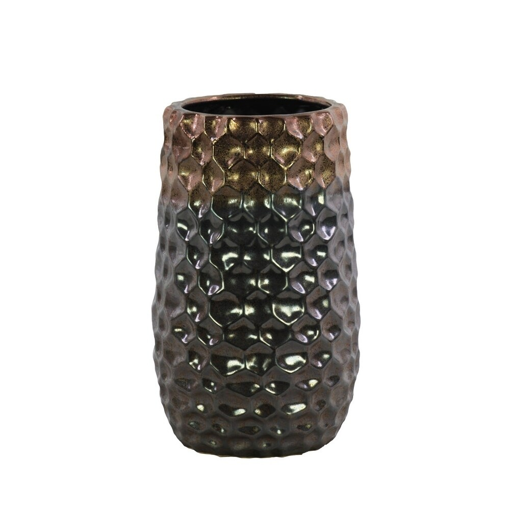 Urban Trends Ceramic Round Vase with Embossed Diamond Design Body and Tapered Bottom in Metallic Finish, Small - Dark Gray - N/A
