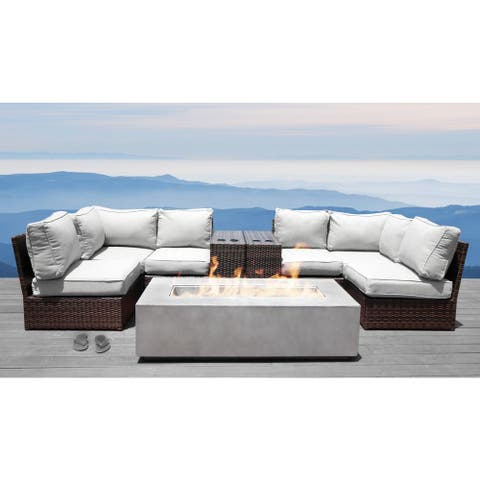Living Source International Lucca 9-piece Cup Table Fire Pit Sectional