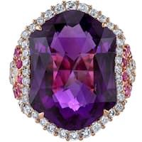 Oravo 15.25 carats Amethyst Diamond and Pink Sapphire Ring 14K Rose Gold  Size 7 - Purple