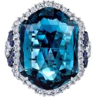 Oravo 21.70 carats London Blue Topaz Diamond and Sapphire Ring 14K White Gold Size 7