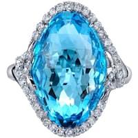 Oravo 17.00 carats Swiss Blue Topaz Diamond Empress Ring 14K White Gold  Size 7