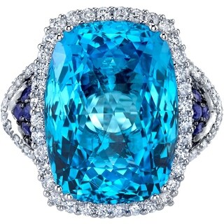 Oravo 17.50 carats Swiss Blue Topaz Diamond and Sapphire Ring 14K White Gold Size 7