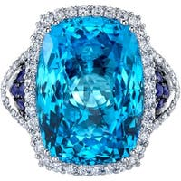 Oravo 17.50 carats Swiss Blue Topaz Diamond and Sapphire Ring 14K White Gold Size 7