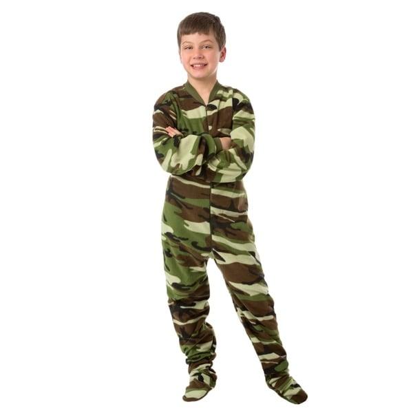 Big Feet Pjs Kids Green Camo Fleece Boys Footed Pajamas One Piece Sleeper. Opens flyout.