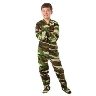 Big Feet Pjs Kids Green Camo Fleece Boys Footed Pajamas One Piece Sleeper
