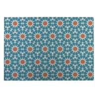 Kavka Designs Blue/Orange Sun Burst Indoor/Outdoor Floor Mat - 8' X 10'
