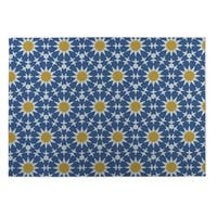 Kavka Designs Blue/Yellow Sun Burst Indoor/Outdoor Floor Mat - 8' X 10'