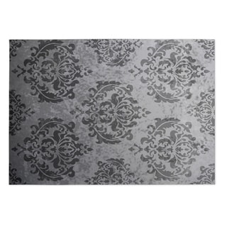 Kavka Designs Grey Damask Indoor/Outdoor Floor Mat (8' X 10')