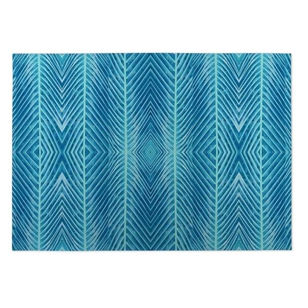 Kavka Designs Blue Blue Palms Indoor/Outdoor Floor Mat (8' X 10') - 8' x 10'