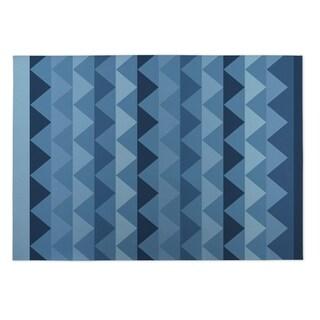 Kavka Designs Blue White Caps Indoor/Outdoor Floor Mat (8' X 10')