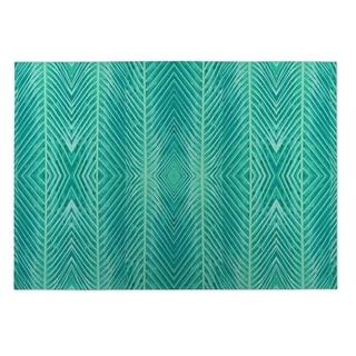 Kavka Designs Green Blue Green Palms Indoor/Outdoor Floor Mat (8' X 10')