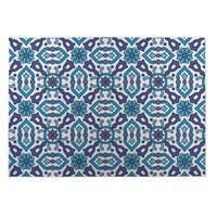 Kavka Designs Blue Kaleidoscope Indoor/Outdoor Floor Mat (8' X 10') - 8' x 10'