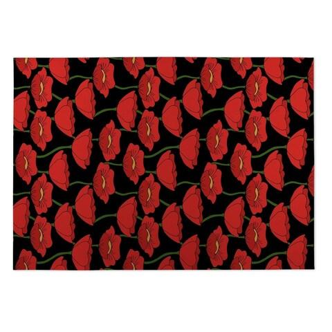 Kavka Designs Red/Green/Black Flanders Fields Indoor/Outdoor Floor Mat (8' X 10') - 8' x 10'