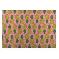 Kavka Designs Green/Pink/Yellow Pineapple Indoor/Outdoor Floor Mat (8' X 10') - 8' x 10'