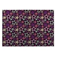 Kavka Designs Purple/Blue/Pink Star Spangled Indoor/Outdoor Floor Mat - 8' X 10'