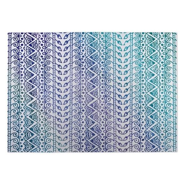 Kavka Designs Blue/Purple/White Ocean Breeze Indoor/Outdoor Floor Mat (8' X 10') - 8' x 10'