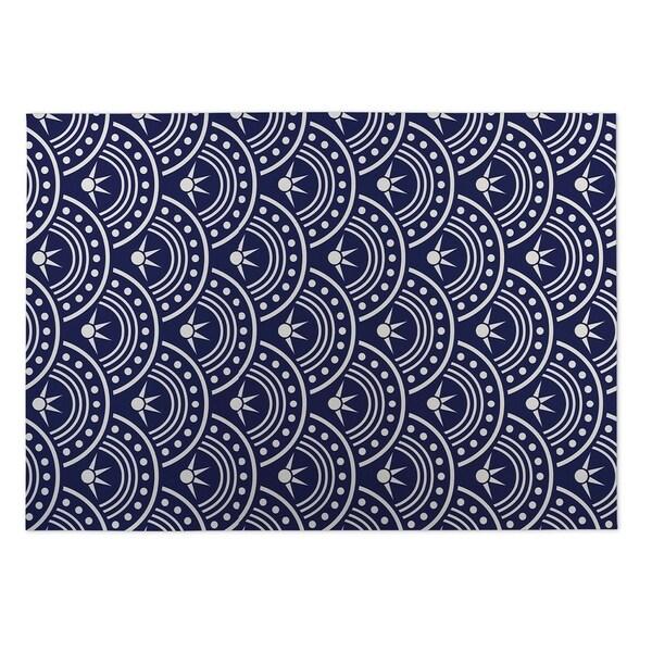 Kavka Designs Blue/White Hoops Indoor/Outdoor Floor Mat (8' X 10') - 8' x 10'