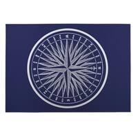Kavka Designs Blue/White Nautical Compass Indoor/Outdoor Floor Mat (8' X 10') - 8' x 10'