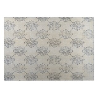 Kavka Designs Tan/Grey Old Damask Indoor/Outdoor Floor Mat (8' X 10')