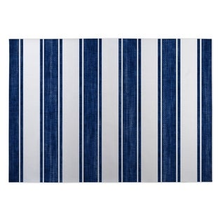 Kavka Designs Blue/White Nautical Stripe Indoor/Outdoor Floor Mat (8' X 10')